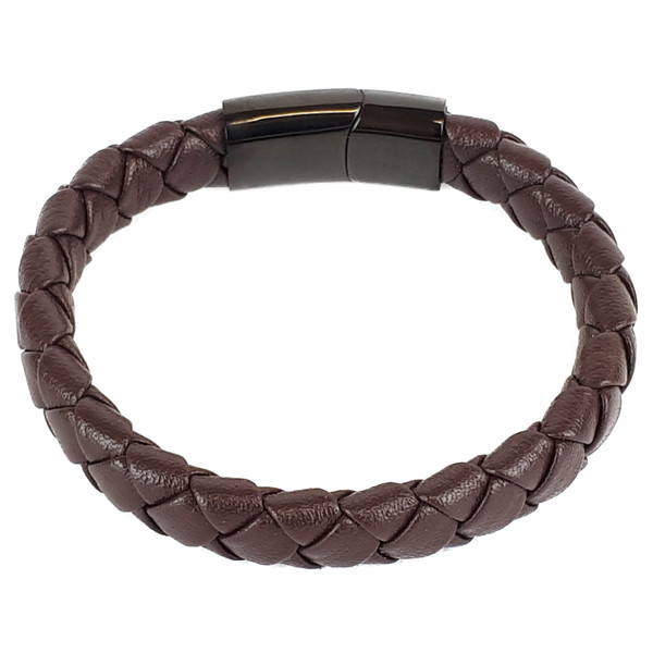 BROWN LEATHER AND BLACK CLASP BRACELET