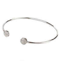 STERLING SILVER PAVE CZ OPEN BANGLE