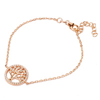 ROSE GOLD CZ TREE OF LIFE BRACELET