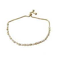 YELLOW GOLD ADJUSTABLE CZ BRACLET