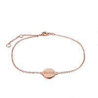 CURE BRAIN CANCER FOUNDATION BELIEVE BRACELET ROSE GOLD