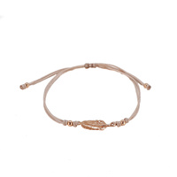 ROSE GOLD FEATHER CORD BRACELET NUDE