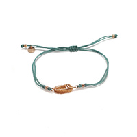 ROSE GOLD FEATHER CORD BRACELET TURQUOISE
