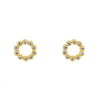 YELLOW GOLD CIRCLE OUTLINE CZ STUDS