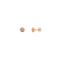 ROSE GOLD BEZEL SET CZ STUDS WITH STONE SET OUTER