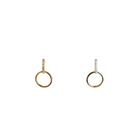 YELLOW GOLD CUBIC ZIRCONIA BAR WITH CIRCLE STUDS