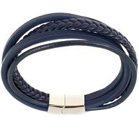 FIVE STRAND BLUE LEATHER BRACELET