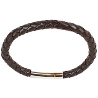 BROWN LEATHER SINGLE STRAND BRACELET