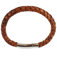 TAN LEATHER SINGLE STRAND BRACELET