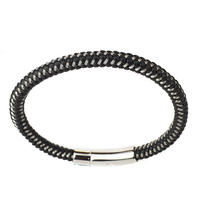 BLACK LEATHER AND STAINLESS STEEL THIN BRACELET