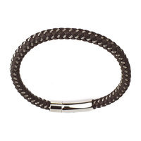 BROWN LEATHER AND STAINLESS STEEL THIN BRACELET