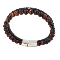 BLACK LEATHER AND RED TIGERS EYE DOUBLE STRAND BRACELET