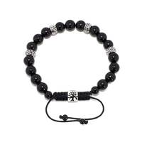 BLACK AGATE AND FILIGREE STAINLESS STEEL BEAD ADJUSTABLE BRACELET