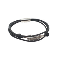 STAINLESS STEEL FEATHER AND BLACK LEATHER BRACELET