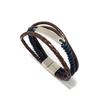 BLUE AND BROWN LEATHER MULTI STRAND ID BRACELET
