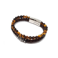 BROWN TIGERS EYE AND BROWN LEATHER DOUBLE STRAND BRACELET WITH BEADS