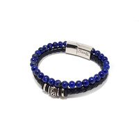 LAPIS AND BLUE LEATHER DOUBLE STRAND BRACELET WITH BEADS