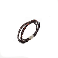FOUR STRAND BROWN LEATHER AND RED TIGERS EYE BRACELET