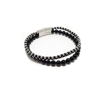 TWO STRAND BLACK CORD WITH STAINLESS STEEL BEADS AND ONYX BRACELET