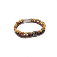 TWO STRAND TAN LEATHER AND BROWN JASPER BRACELET WITH STAINLESS STEEL DOT BEADS