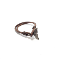 BROWN LEATHER WHALE TAIL BRACELET