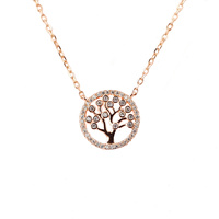 ROSE GOLD CZ TREE OF LIFE PENDANT