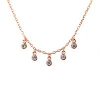 ROSE GOLD CZ DANGLE NECKLACE