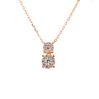 ROSE GOLD DOUBLE CZ DROP PENDANT
