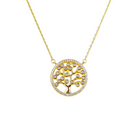YELLOW GOLD LARGE CZ TREE OF LIFE NECKLACE