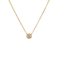 YELLOW GOLD BEZEL SET CZ PENDANT WITH STONE SET OUTER