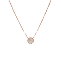 ROSE GOLD MOTHER OF PEARL DISC NECKLACE