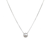 STERLING SILVER MOTHER OF PEARL DISC NECKLACE