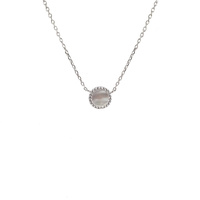 STERLING SILVER MOTHER OF PEARL DISC NECKLACE WITH CUBIC ZIRCONIAS