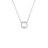 STERLING SILVER SMALL CUBIC ZIRCONIA CIRCLE NECKLACE