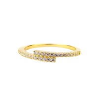 YELLOW GOLD CZ OVERLAP RING