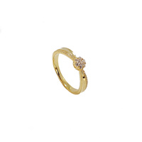 YELLOW GOLD CZ CLUSTER RING