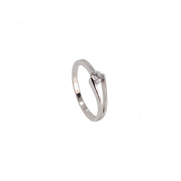 STERLING SILVER FLOATING CUBIC ZIRCONIA RING