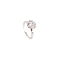 STERLING SILVER LARGE CZ HALO RING