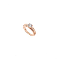 ROSE GOLD TRIPLE BAND RING WITH CUBIC ZIRCONIA